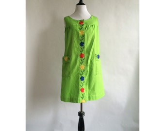 Lime Green Embroidered Dress - SALE