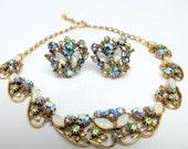 Vintage FLORENZA Peacock Rhinestone Necklace and Earrings Demi Parure Set