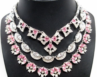 Beautiful Vintage Bogoff And Albion Pink And Clear Rhinestone Necklaces and Earrings