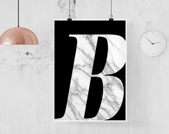 Marble Letter Poster, Single Large Letter Poster, Scandi Style, Modern Minimalist Art, Any Letter, Black and White Monochrome, Blush Marble