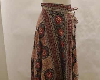 Vintage 1970's Boho Indian Block Print Wrap Maxi Skirt SZ Small