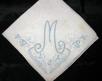 Embroidered Handkerchief Bride Handkerchief, Wedding Hankies Bridal Hankerchief Something Blue