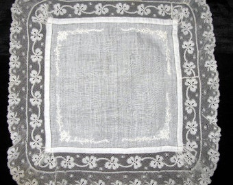 Irish Handkerchief Antique Victorian Hanky, Lace Handkerchief Wedding Ivory Heirloom Hankie