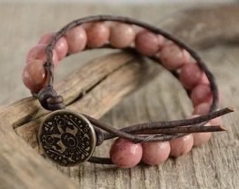 Chunky bohemian beaded bracelet. Shabby chic jewelry