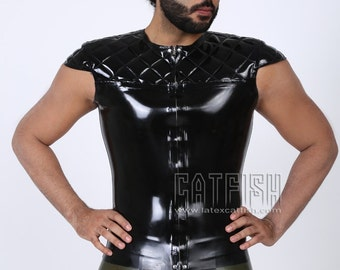 Men Latex Top Sexy Cool Tight Fashion Latex Clothing Short Jacket Coat