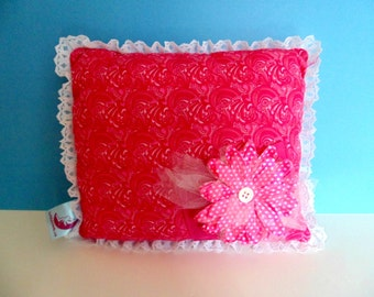 Pink Lace Trim Tooth Fairy Pillow, Pink Room Decor , Girls Pink Pillow , Can Be PERSONALIZED