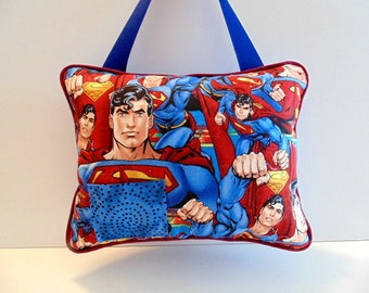 Personalized Superman Tooth Fairy Pillow, Super Hero Pillow, Superman Decor, Boys Blue Pillow, Hanging Pocket Pillow