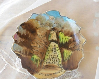 End of Summer Sale Carlsbad Caverns Rock of Ages Souvenir Plate, Vintage Item. 1950's, Hand Painted, Made in Japan by NICO
