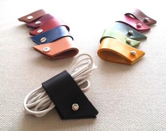 Earphone wrap, Headphone winder, Organizing wires, Phone cord holder, Earphone cord wrap, Earphones holder, Leather cord holder