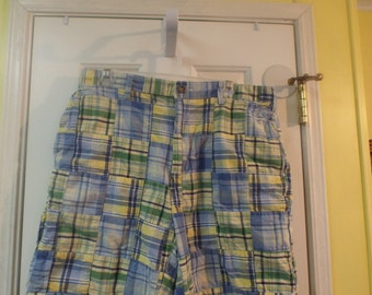 Men's Madras Shorts Pastel Patchwork Size 34 Oh So Preppy
