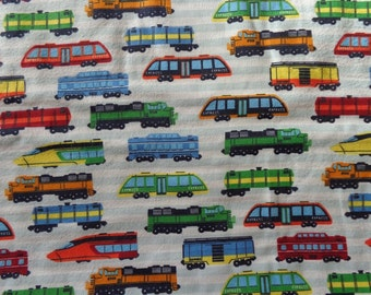 Multicolor Train Flannel Fabric by the Yard