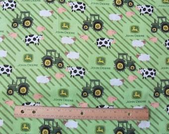Green John Deere Stripe/Farm Animal Flannel Fabric by the Half Yard
