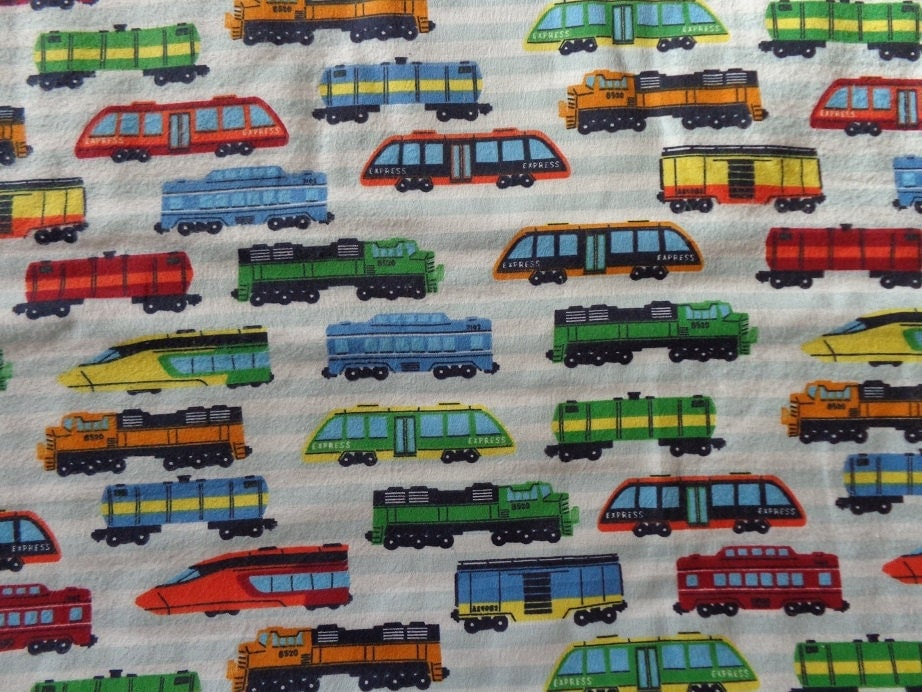 Multicolor train flannel fabric by the yard for Train fabric by the yard