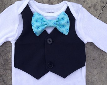 Baby boy clothes, baby boy fall outfit, baby boy suit, black vest and tie onesie, boy clothes, boy fall clothes, infant outfit blue bow tie