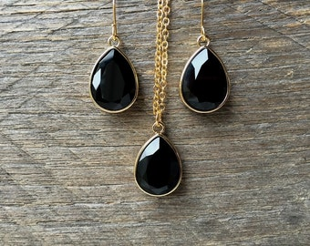 SALE Teardrop Black Necklace Earring Swarovski Crystal Pear Pendant on Silver or Gold Chain and French Hook