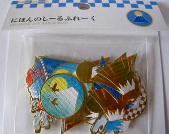 "SALE NEW Die Stickers with Gold Accents by Kamio of Japan ""Mount Fuji"" Set of 40."