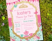 Princess Tea Party Invitation - Pink and Gold Glitter Shabby Chic - Instant Download and Edit File at home with Adobe Reader