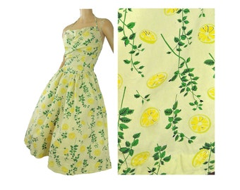 50s Dress Yellow Lemon Print Halter Sundress Designer Brigance