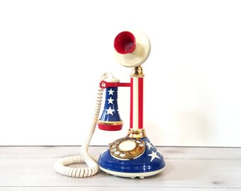 Candlestick Telephone American Flag Collectible Vintage Phone / Deco Tel Rotary Dial Phone / Patriotic American Flag Desk Table Top Decor