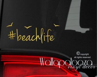 beach life sticker - beach car sticker - beach decal - car sticker - car decal - beach bum - beach sticker - beachlife - car window decal