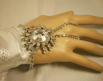 Rhinestone Slave Bracelet / Bridal Bracelet / Hand Jewelry / Boho Jewelry / Clear Rhinestones / Silver Bracelet / Wedding Jewelry