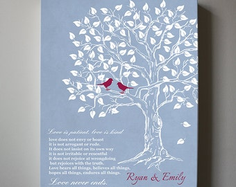 Family Tree with Love birds, Personalized Family Tree Canvas Print, Name and Est Date Family Tree, Parents Anniversary Gift,