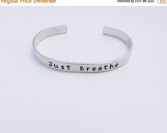 Just Breathe Bracelet - Yoga Jewelry -Personalized  Hand Stamped Metal Cuff Mantra