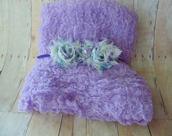 Newborn Photography Headband and Wisteria Cheesecloth set... Baby girl props  Cheesecloth wraps