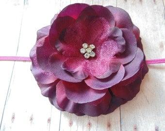 Chiffon ans Lace   Rosette Headbands ...  ..Baby Girl Headbands.. Photo Prop. Girls Headband  Holiday Flower