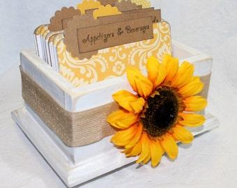 Rustic Recipe Box, Recipe Box, Recipe Dividers, Sunflower Dividers, Burlap, Bridal Shower, Yellow Damask, White Recipe Box, Recipe Cards