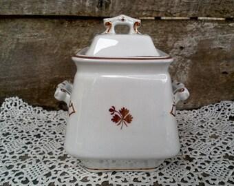 "Vintage Copper ""Tea Leaf"" Lustreware Ironstone Biscuit Jar, Sugar Caddy,  Luster Georgian 1800s Burgess Burslem England, Kitchen Decor"