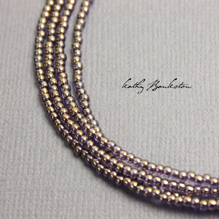 gold purple seed bead necklace gold seed bead necklace