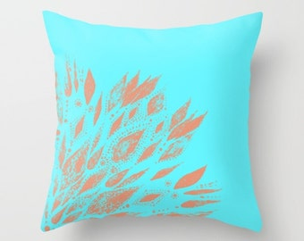 Coral & Blue Throw Pillow Cover, floral throw pillow, bohemian pillow, mandala cushion, coral blue pillow, coral throw pillow