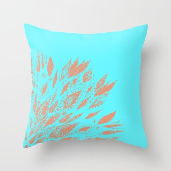Coral & Blue Throw Pillow Cover floral throw pillow bohemian
