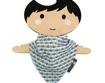 Bandana dribble bib, baby bib, organic cotton, mini rainbows, baby gift, baby clothing, teething baby, modern babies, dribble