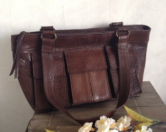 Brown leather bag for everyday