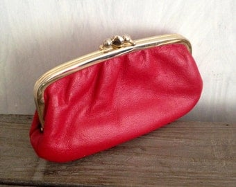Red leather woman wallet -real leather
