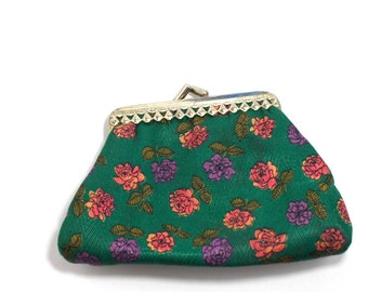 coin purse- wallet with flowers- green pink and purple wallet- kiss lock wallet- kiss lock purse- retro purse- green wallet- for her mother