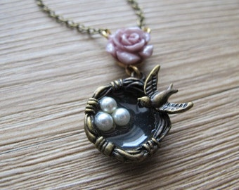 Nest and Sparrow Brass and Beaded Necklace