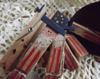 Patriotic Primitive Uncle Sam Clothespin Americana Decor