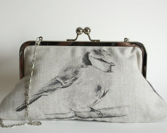 Screen-printed Handmade Bluetit Handbag