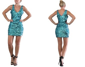 Teal Sequin Mini Dress/ Blue Sequin Mini Dress/ Aqua Sequin Dress/ Formal Sequin Dress/ Party Dress/ Bebe Sequin Dress/ Turquoise Dress