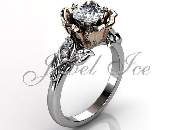 14k two tone white and rose gold diamond unusual unique flower engagement rin