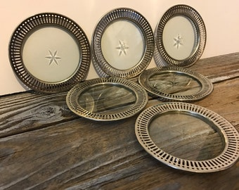 6 Vintage Chrome Silver Tone & Glass Star Atomic Coasters Sternauware NY