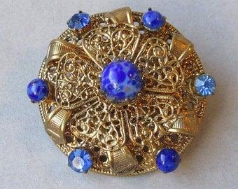 Vintage Czech Glass & Rhinestone Gilt Brass Filigree Pin