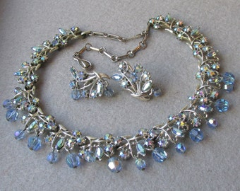 RARE Beauty CORO Dangling Blue AB Crystal & Rhinestone Necklace, Earrings Set, Vintage Demi Parure