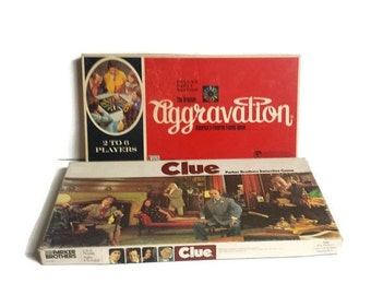 Vintage Board Game,   1970s board games, 1972 Clue, 1972 Aggravation, Original Clue Detective board game, Original Aggravation board game