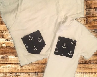 Mommy and Me Anchor Sailor Tees,Monogrammed Mommy and Me Tees,Sailboats and Under the Sea Party, Mommy and Me tees