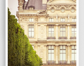 Paris photography - LOUVRE SOUTH WING (vertical version) - Paris photo,Tuileries,Paris decor,large wall art,green,Art Poster,Paris art