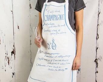 Champagne Apron - Funny Champagne Quote - Bollinger Quote Apron - Champagne Kitchen Art Apron - Funny Apron - Kitchen Art Apron
